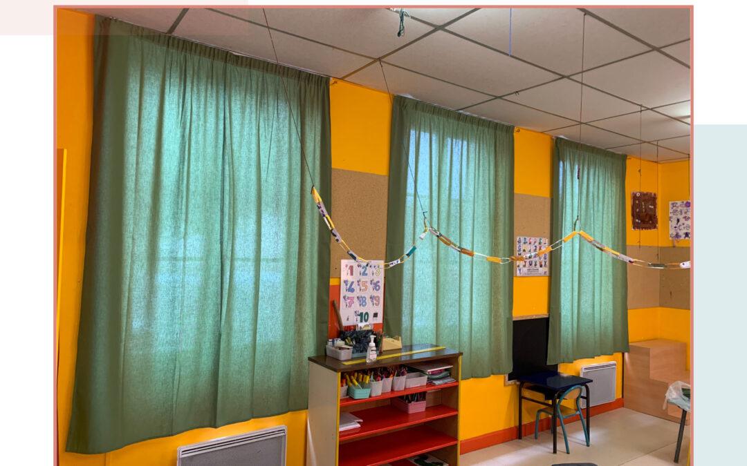 Pose de rideaux non feu M1 : Ecole Maternelle de Chaunay Vienne (86)